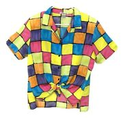 Notations Womens Size Large Bright Color Block Squares Shirt 80s 90s Button Up