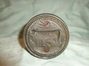 Rare Antique Heavy Pewter Cow Figure Design Butter Mold Print, Stamp Press