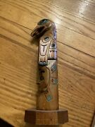 Signed Foxmoore Alaska Totem Pole Wood Carving 8.5 Inches Nice