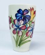 Stunning Moorcroft And039spring Flowersand039 Pottery Beaker Made In England C.1950and039s