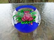 Signed B Ray Banford Red Cabbage Roses Faceted Art Glass Paperweight, Usa