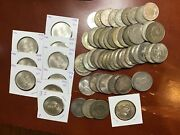 61 Piece Mixed 1-5 Mexico Silver Peso Lot 1922-1979 Many Au And Bu Coins