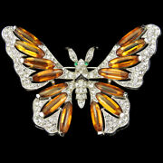 Trifari And039alfred Philippeand039 Pave Enamel And And Topaz Lozenges Butterfly Pin
