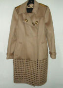 New Cashmere Trench Coat Color Camel Size 42 Msrp 7500