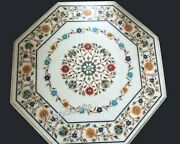 30 Inches Marble Kitchen Table Top Multi Gemstones Inlay Work Patio Coffee Table