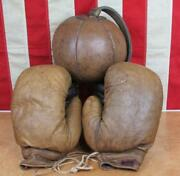 Vintage 1920s Antique Boxing Leather Punching Striking Bag Unusual W/gloves Gym