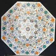42 Inches Marble Patio Coffee Table Gemstones Inlay Work For Home Dine Furniture