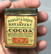 Rare Antique Hawley And Hoops Breakfast Cocoa Sample Tin Chocolate Advertising