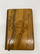Vintage Mount Of Olives Bible New Brevier Type Mob 31 Wood Cover Red Letter Rare