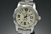 Mens Breitling Colt 44mm Stainless Steel Quartz Silver / Cream Dial Watch A74387