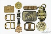 Vintage Brass Belt Buckles And Watch Fobs Rodeo Champ Hough Euclid 10pc Asst 20450