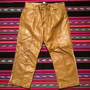 Vintage Brooks 1960and039s Mens Tan Leather Motorcycle Pants Size 38 Snap Button