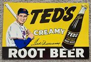 Ted Williams Signed Ted's Creamy Root Beer Mlb Baseball Metal Adv Sign - Rare