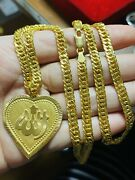22k 916 Real Saudi Uae Gold 24andrdquo Long Mens Womenandrsquos Heart Set Necklace 5.5mm 24.2g