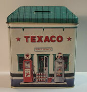 1990s Texaco Rudyand039s Service Station Tall Cottage Tin Bank Gas Oil Collectibles
