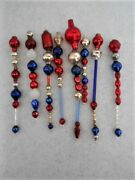 7 Patriotic Red Silver And Cobalt Blue Vintage Glass Bead Icicle Ornaments