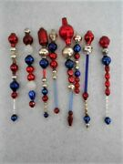 7 Patriotic Red, Silver And Cobalt Blue Vintage Glass Bead Icicle Ornaments