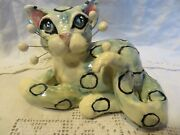 Wide Eyed 'kelly' Mint Polka Dot Cat Original Whimsiclay By Amy Lacombe