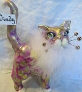 Wide Eyed 'windy' Purple And Gold Glamour Cat Original Whimsiclay By Amy Lacombe