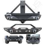 Front Rear Bumper W/ Tire Carrier And Lights For 2007-2018 Jeep Wrangler Jk Black