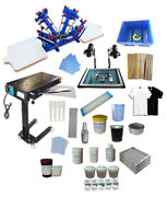 Manual Screen Printing Kit 4 Color 2 Station 360° Press W/flash Dryer W/material