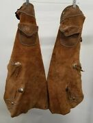 Antique Leather Batwing Chaps Rare-n.porter Cowboy Western Americana Collectable