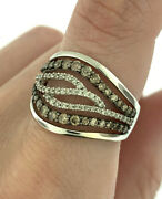 Le Vian Chocolate And White Diamond Open Wave Design Band Ring 14k White Gold 7