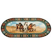 Horses Area Rug Wild Galloping Oval Aztec Border Pattern Indoor Home Farmhouse