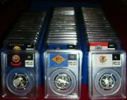 Collection Of Silver Quarters1999-2009 50 State And 6 Territories Pcgs Pr69dcam