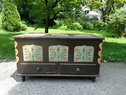 Antique 19th.c Painted Blanket Chest With 2 Outside Drawers And Candle Box