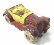 Vintage 1930's Red And Yellow Kilgore Cast Iron Take Apart Roadster Coupe