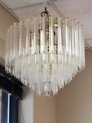 Mid Century Hollywood Regency Glam Lucite Chandelier Ceiling Light Fixture