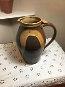 Vintage Thrown And Altered Clay Pitcher Pottery Chop Mark Bird On Feather Euc