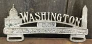 Early Vintage Die Cut Metal Washington Dc Nation's Capital License Plate Topper