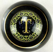 Punch Studio Crystal Paperweight T Initial Made In France Elegant Design Boxed