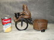 Vintage Cast Iron Frog On A Bike W Wagon Candle Holder Planter Door Stop
