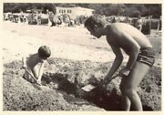 Vintage Bandw Photo Man Dad Son Little Young Boy Digging Playing Sand Beach Europe