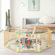 Wooden Foldable Baby Playpen 8 Panels Play Center Baby Safety Activity Center