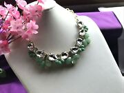 Vintage Statement Necklace Couture Pale Mint Green / Pear Faceted Crystal  N39