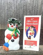 Vintage Blow Mold 32 Frosty Snowman Fiber Optic Multi-color Lighted Christmas