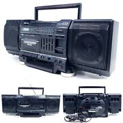 No Cd Vintage Jvc Pc-v2j Boombox 1987 Am/fm Radio Cassette Player Stereo Aux In