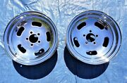 Vintage Chrome 5 Slot Steel Wheels 14 X 6 4andprime Bolt Circle A Body Made In Usa