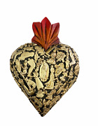 Hand Made Milagros Wood Sacred Heart Hand Carved Painted Gifts 8 X 5 1