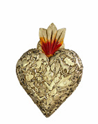Hand Made Milagros Wood Sacred Heart Hand Carved Painted Gifts 8 X 5 4