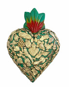 Hand Made Milagros Wood Sacred Heart Hand Carved Painted Gifts 8 X 5 5