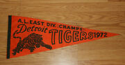 Scarce 1972 Detroit Tigers A.l. East Champions Pennant