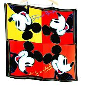 Vintage 1998 Andy Warhol Foundation 100 Silk Mickey Mouse Square Scarf