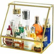Innsweet Glass Makeup Organizer, Large Cosmetic Display Cases With 3 Drawers