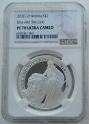 Ngc Pf70 Great Britain Uk St.helena 2020 Una And The Lion Silver Coin 1oz Spots