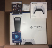 Playstation 5 Ps5 Disc Gaming Console Bundle W/ 2nd Controller Ps Now Spider-man